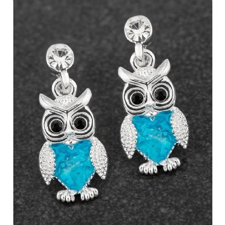 Sea Breeze Owl Silver Plated Earrings